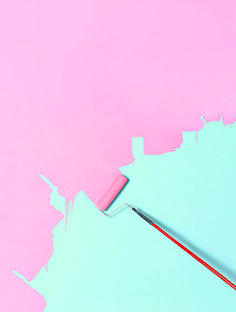 pink color painting over the teal color with a roller brush - - iphone wallpaper background cell phone