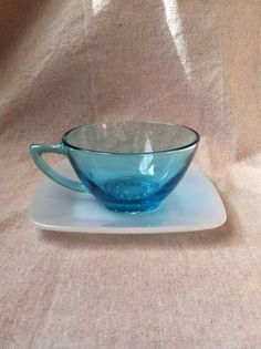 Vintage Aqua Blue Glass Teacup and Light Blue by SomethingColorful, $10.00