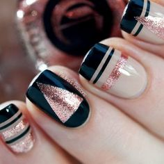 Striping Tape New Year Nails.                                                                                                                                                                                 More