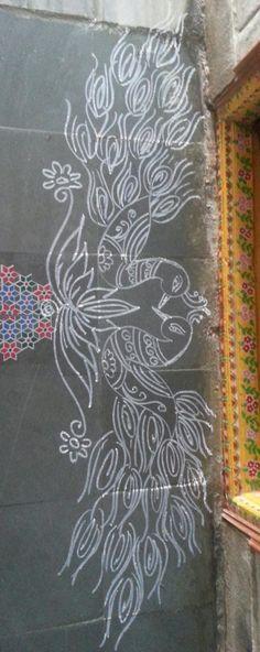 Peacocks border rangoli Rangoli Borders, Rangoli Border Designs, Colorful Rangoli Designs, Rangoli Designs Diwali, Kolam Rangoli, Beautiful Rangoli Designs, Kolam Designs, Mehandi Designs, Peacock Rangoli