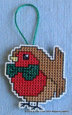 2 Wood Frame Bauble Decorations Robin Holly Christmas Cross Stitch Kit