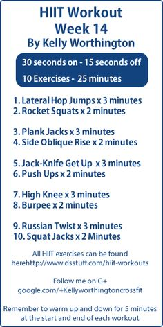 Week 14 HIIT workouts This weeks workout is awesome check it out and all the others here:  http://www.dsstuff.com/hiit-workouts/