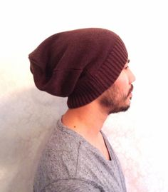 Slouch Mens Beanie Hat Men Clothes unisex Coffee by MissTopKnot, $27.00