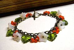 Flower Charm Bracelet Tropical Berries Colorful by justCHARMING