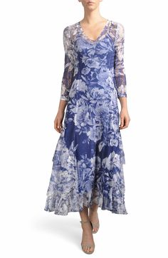91a2ef1e90f Komarov Floral Charmeuse   Chiffon A-Line Dress (Regular   Petite)