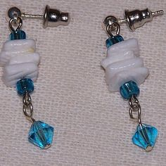 Blue Crystals & White Shells Dangle Earrings from Osborn Jewelry Gaia's Essence