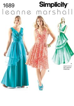 f3e129557bb Simplicity 1689 Misses  Formal Prom Bridesmaid Dress Leanne Marshall Design  knee length Dress Maxi Dress