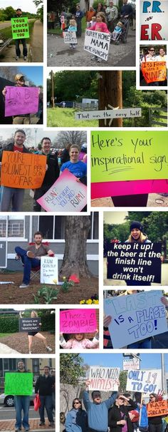 "Funny Race Signs { I race tomorrow - I hope there are some fun ones out! Best I ever read was "" Ryan Gosling is at the finish. Don't believe us? Go see for yourself!"""