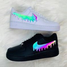 Mar 2020 - Excited to share the latest addition to my shop: Custom multicolored reflective tick drip design Air Force 1 Cute Nike Shoes, Cute Nikes, Cute Sneakers, Shoes Cool, Nike Custom Shoes, Black Shoes Sneakers, Custom Jordans, Custom Painted Shoes, Black Nike Shoes