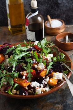 The earthy flavour of beetroot, the sweetness of butternut squash and the saltiness of feta make a delicious combination in this Beetroot, Squash and Feta Salad. Pumpkin And Beetroot Salad, Beetroot And Feta Salad, Pumpkin Salad, Beetroot Recipes Salad, Beetroot Ideas, Veg Recipes, Salad Recipes, Vegetarian Recipes, Cooking Recipes