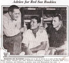 Boston Red Sox. Walt Dropo, and my Dad, John Hofmann (far right) getting advise from their Manager.