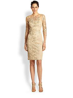 David Meister Embroidered Illusion Cocktail Dress $500 at saks - gorgeous MOB dress!