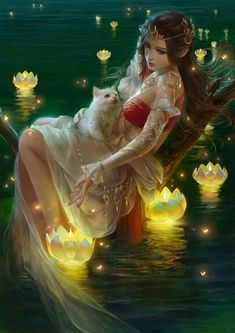 Princess with a cat on a lake and glowing flowers (water lilies?). Gorgeous
