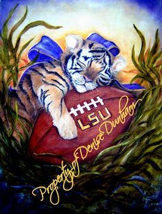 LSU Sleeping Baby Tiger-Reproductions for sale in many sizes, on fine art paper or canvas