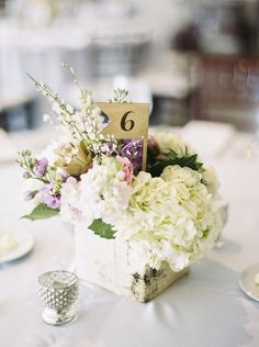 Boxed floral centerpiece with hydrangeas | Photography: Kirsta A. Jones - kristaajones.com/  Read More: http://www.stylemepretty.com/2014/07/28/romantic-spring-wedding-at-historic-hotel/