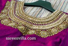 Latest zardosi work blouse designs 2019 - New Blouse Designs Silk Saree Blouse Designs, Choli Designs, Blouse Neck Designs, Blouse Patterns, Sari Bluse, Zardosi Work Blouse, Maggam Work Designs, Indian Bridal Hairstyles, Fancy Sarees