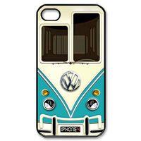 iphone 4 case Cute kawaii blue mini bus volkswagen with chrome logo Apple iPhone 4/4s Case (Black / white Color Case)