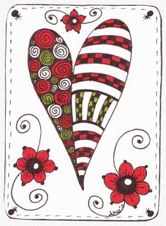 Kai-Zen Doodles: Heart Valentines ACEOs on Sale on Etsy & Heart ATC for Trade