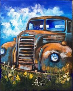 """Old English Truck"" beautifully painted by Kristi Niblett from one of just over 300 complete tutorials on acrylic painting at www.gingercooklive.gallery"
