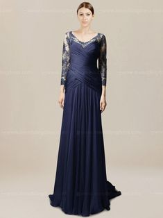 Modest long bride mother dress will make you feel pretty and proud. The crisscross ruched bodice with long lace sleeves is interesting and unexpected. The floor length skirt flows down elegantly and make a sweep train at back. Available in 60 colors, shown in Navy.
