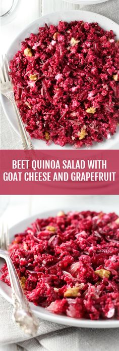 A healthy beet quinoa salad made with creamy goat cheese, crunchy walnuts, and grapefruit. Can be served on its own or as a side dish. This salad is very filling and easy to make.