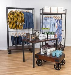 Mobile Industrial Retail Dual Shelf Armoire Rack | Wagon Wheels