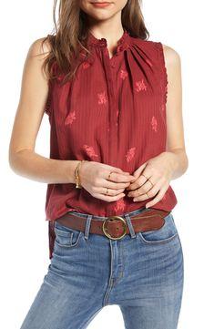 Women's Treasure & Bond Pleat & Ruffle Top, Size Large - Red