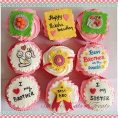 Rakhi theme cupcakes Cake Decorating Piping, Creative Cake Decorating, Birthday Cake Decorating, Cake Decorating Techniques, Fondant Cake Designs, Fondant Cupcake Toppers, Cupcake Cakes, Eid Cupcakes, Themed Cupcakes