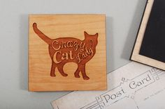 Wooden MAGNET solid American Cherry wood for cat's by MoodForWood