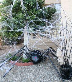halloween deko diy spinne scharz plastiktüten