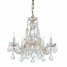 Exquisite Gold Glass Chandelier