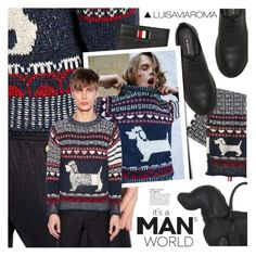 """Dog Days of Fashion"" by luisaviaroma ❤ liked on Polyvore featuring Thom Browne, Anja, men's fashion and menswear"