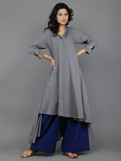 Grey Blue Patang Khadi Kurta With Blue Palazzo - Set of 2 Cold Shoulder Kurti, Shirt Style Kurti, Khadi Kurta, Salwar Kameez, Indian Fashion, Womens Fashion, Trendy Fashion, Latest Kurti, Lehenga Choli Online