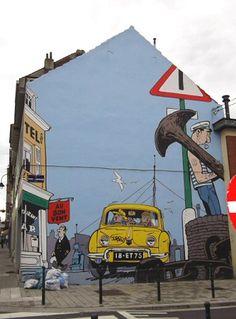-rue Léopold I 201 (coin avec la rue Thys-Vanham)- La fresque de Gil Jourdan d'après le héros du dessinateur Maurice Tillieux fut inaugurée en juin 2009. La réalisation de la fresque est de l'asbl Art Mural.