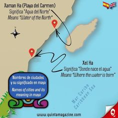 Nombres de las ciudades en la Riviera Maya y su significado en lengua maya [Xaman Ha (Playa del Carmen) y Xel Ha] 🌞 Names of the cities in the Riviera Maya and its meaning in maya language [Xaman Ha (Playa del Carmen) and Xel Ha] ☀💦🌴👙🐠🇲🇽 #infografía #infographic #ciudades #cities #nombres #names #maya #language #paraíso #paradise #caribe #caribbean #cultura #culture #informacion #information #interesante #interesting #mapa #map #quintamagazine #xamanha #xelha #playadelcarmen…