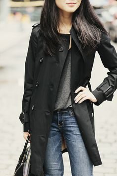 This is exactly how I love it - grey tee, jeans and a Burberry Trench!