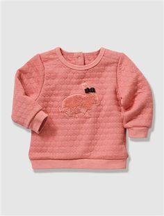 Baby Girl's Padded Fleece Sweatshirt Cream+Dusky pink