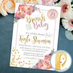 Baby Shower Brunch Invitation Watercolor Invite by socalcrafty
