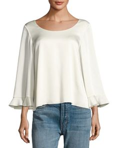 Karlotta+Boat-Neck+Scoop-Back+Blouse,+Ivory+by+Elizabeth+and+James+at+Neiman+Marcus.