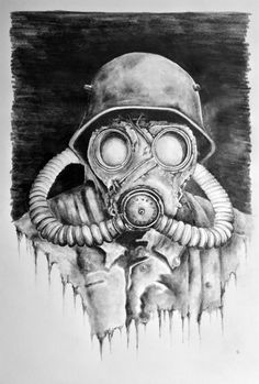 Gas Mask #military #drawing #art