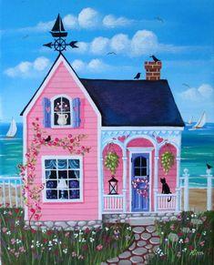 Etsy の Sweet Pea Cottage Folk Art Print by KimsCottageArt