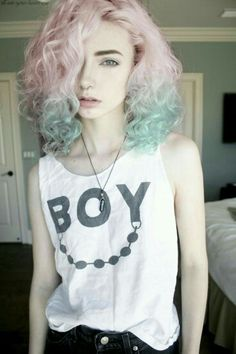 Curly pastel pink & blue hair