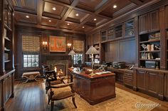 Traditional Home Office with Hardwood floors, Box ceiling, Built-in bookshelf, Wood Grid Coffered Ceilings, Crown molding Contemporary Home Offices, Traditional Home Offices, Modern Contemporary Living Room, Traditional House, Traditional Kitchens, Contemporary Kitchens, Home Library Design, Office Interior Design, Office Interiors