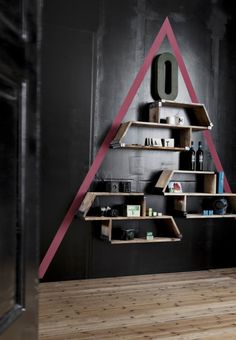 Cool bookshelf made by recycled wood.