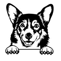 Corgi Peeking Cricut Vinyl, Vinyl Decals, Invert Image, Animal Templates, Templates Free, Baby Coloring Pages, House Mouse Stamps, Diy Crafts To Do, Wood Burning Patterns