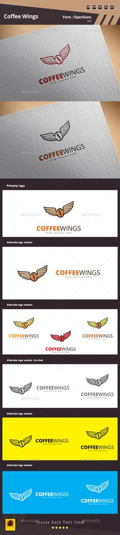 Coffee Wings Logo Template
