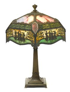 An American filigree and patinated metal and glass lamp early 20th century