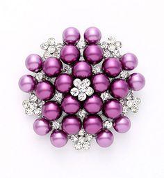 Purple Pearl Brooch Wedding Bridal Dress Sash Cake Rhinestone Purple Brooches Neckalce DIY Jewelry Crystal Pearl Broach