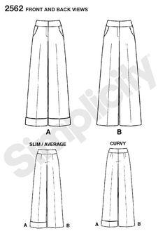 Simplicity : 2562.  I love a wide-leg trouser!
