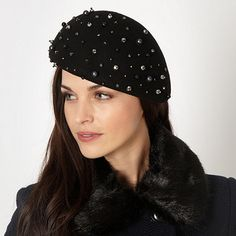 d649f3afba8f5 This black felt beret from our exclusive designer range from J by Jasper  Conran is made from pure wool with scattered bead and sequin embellishment.